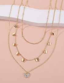Fashion Gold Color Butterfly Diamond Tassel Multilayer Necklace