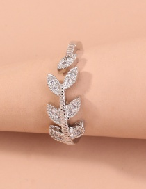 Fashion Silver Color Leaf Micro Inlaid Zircon Open Ring