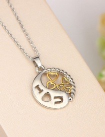 Fashion Color Mixing Round Love Heart Two-tone Diamond Pendant Necklace
