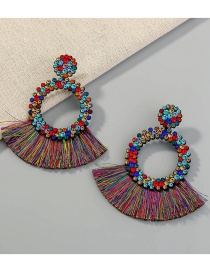 Fashion Color Mixing Round Tassel With Diamond Hollow Earrings