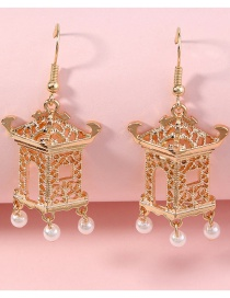 Fashion Gold Color Lantern Pearl Hollow Alloy Earrings