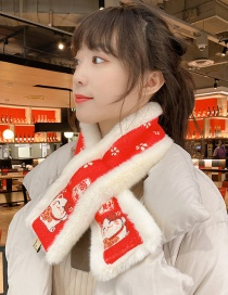 Fashion Lucky Fortune Plush Thick Warmth Printing Cross Double-sided Dual-purpose Scarf