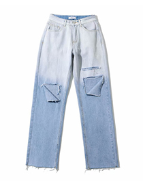 Fashion Light Blue Washed Gradient Ripped Loose Jeans