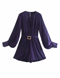 Fashion Purple V-neck With Belt Drape Jumpsuit