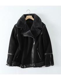 Fashion Black Houndstooth Short Denim Jacket
