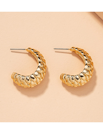 Fashion Gold Color C-shaped Lychee Embossed Irregular Earrings