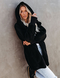 Fashion Black Plush Hooded Loose Solid Color Coat