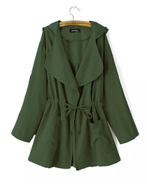 Fashion Green Lapel Hooded Trench Coat