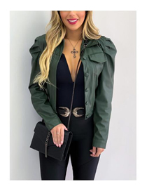 Fashion Armygreen Pu Leather Lapel Deep V Short Solid Color Cardigan Jacket