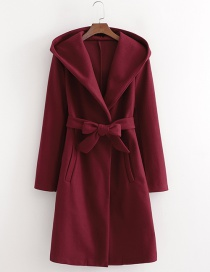 Fashion Red Wine Hooded Woolen Coat With Belt