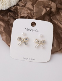 Fashion White Pearl And Zircon Bow Earrings Set