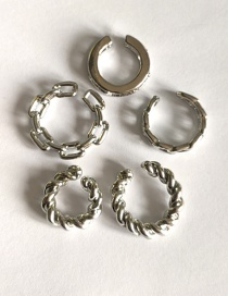 Fashion Five-piece Silver Color Twisted Button Pattern Without Pierced Ear Clips