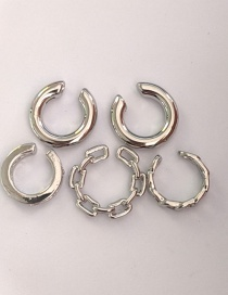Fashion Chain Silver Color Twisted C-shaped Alloy Ear Clip Set