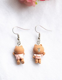 Fashion Bear Simulation Three-dimensional Front And Back Duck Frog Rabbit Bear Epoxy Earrings
