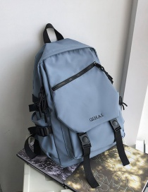 Fashion Blue Without Pendant Contrast Letters Embroidered Buckle Backpack