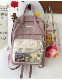 Fashion Pink Without Pendant Contrast Color Edging Letter Logo Nylon Backpack