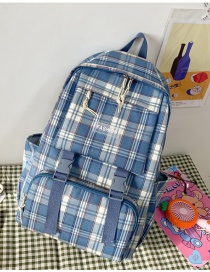 Fashion Blue Without Pendant Check Letter Logo Stitching Backpack