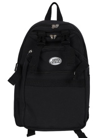 Fashion Black Without Pendant Letter Logo Buckle Contrast Nylon Backpack