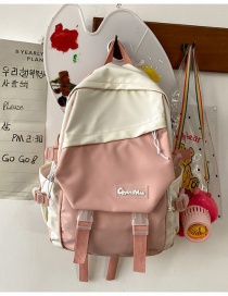 Fashion Pink Without Pendant Stitching Contrast Letter Logo Buckle Backpack