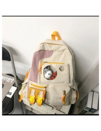 Fashion White Without Pendant Stitching Contrast Color Large Capacity Nylon Backpack