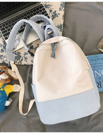 Fashion Light Blue Without Pendant Stitching Contrast Nylon Fabric Large Capacity Backpack