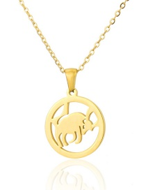 Fashion Gold Color Titanium Steel Smooth Cow Round Hollow Necklace