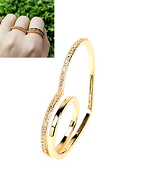 Fashion Gold Color Diamond Love Heart Gold Plated Copper Finger Ring