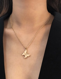 Fashion Gold Color Alloy Butterfly Necklace