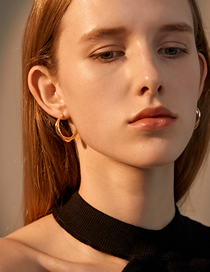 Fashion Kc Gold Twisted Copper Gilded Geometric Earrings