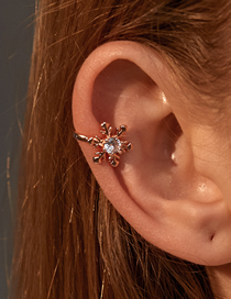 Fashion Rose Gold Snowflake Diamond Ear Clip Without Pierced Ears