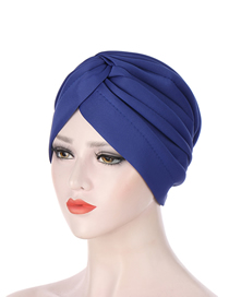 Fashion Royal Blue Indian Solid Color Twisted Space Cotton Hand-stitched Muslim Toe Cap