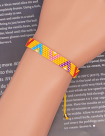 Fashion Yellow Color Matching V-shaped Geometric Rice Bead Woven Pure Handmade Bracelet