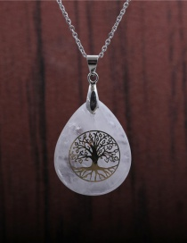 Fashion Tree Of Life Shiraishi Tree Of Life Pendant Hollow Water Drop Shaped Stainless Steel Necklace