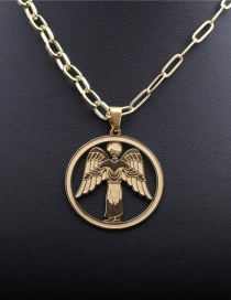 Fashion 40cm Chain + Angel 1 Stainless Steel Angel Wing Pendant Necklace
