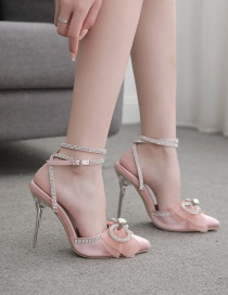 Fashion Pink Lace-up Pointed Bow Rhinestone Stiletto Sandals