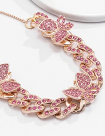 Fashion Rose Gold Pink Diamonds Butterfly Cuban Chain With Diamond Anklet
