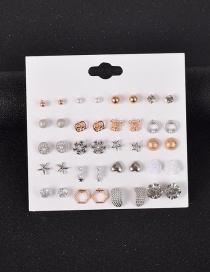 Fashion Color Mixing Diamond-studded Geometric Alloy Earring Set
