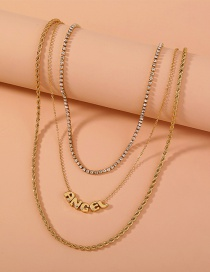 Fashion Letter Multi-layered Necklace With Tassel Letters Alloy And Diamonds