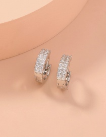 Fashion Silver Color Double Row Zircon Copper And Gold-plated Geometric Earrings