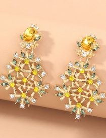 Fashion Gold Color Diamond Flower Alloy Hollow Earrings