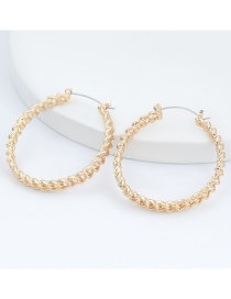 Fashion Gold Color Alloy Notch Round Hollow Earrings