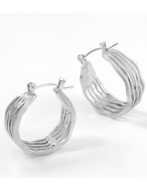 Fashion Silver Color Alloy Notch Round Hollow Textured Earrings