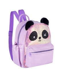 Fashion Purple Panda Sequin Pu Childrens Backpack
