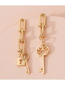 Fashion Gold Color Chain Clasp Asymmetric Key Lock Alloy Earrings