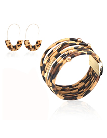Fashion Combination 9 Leopard Print Resin Geometric Print Earrings Bracelet Necklace