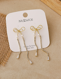 Fashion Gold Color Long Bow Tassel Pearl Earrings