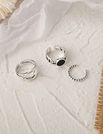 Fashion Silver Color Round Bead Geometric Shaped Alloy Open Ring Set