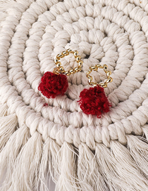 Fashion Red Hairball Geometric Alloy Earrings