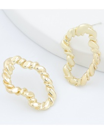 Fashion Gold Color Alloy Twist Shaped Irregular Geometric Earrings