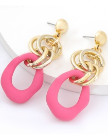 Fashion Rose Red Multilayer Alloy Resin Irregular Hollow Earrings